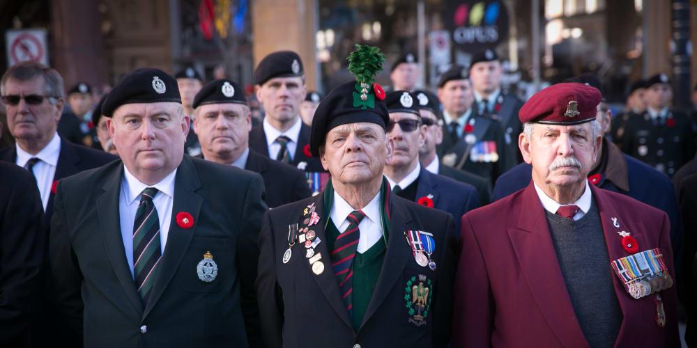 Veterans in their uniforms at The Vista in Esquimalt, British Columbia