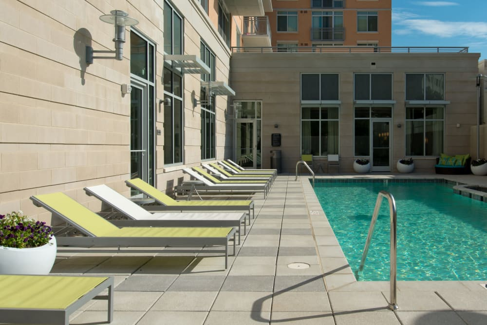 A beautiful resort-style swimming pool at Solaire 1150 Ripley in Silver Spring, Maryland