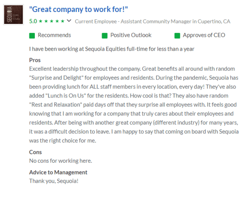 Glassdoor review number one at Sequoia