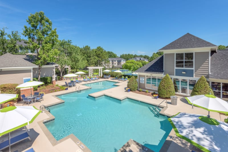 Resort style swimming pool at The Mark in Raleigh, North Carolina