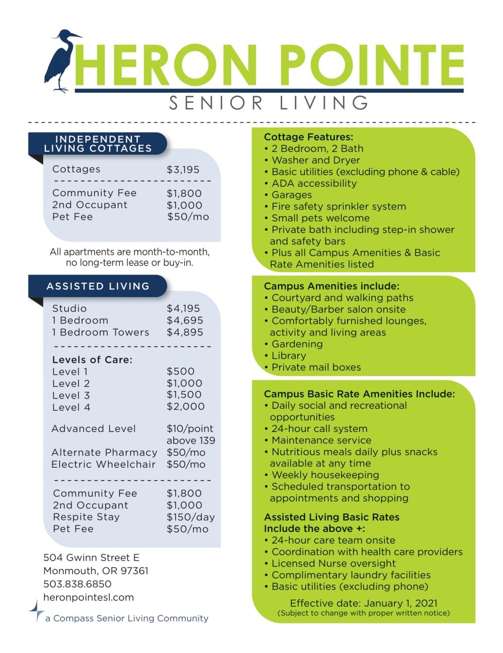 Heron Pointe Senior Living rates