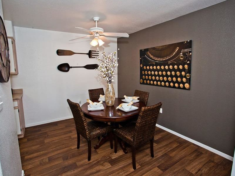 A model dining room at Monterra Apartment Homes