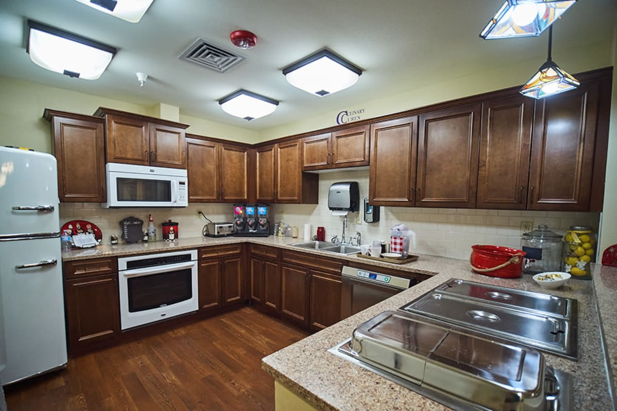 Private kitchen at New Dawn Memory Care in Colorado Springs, Colorado