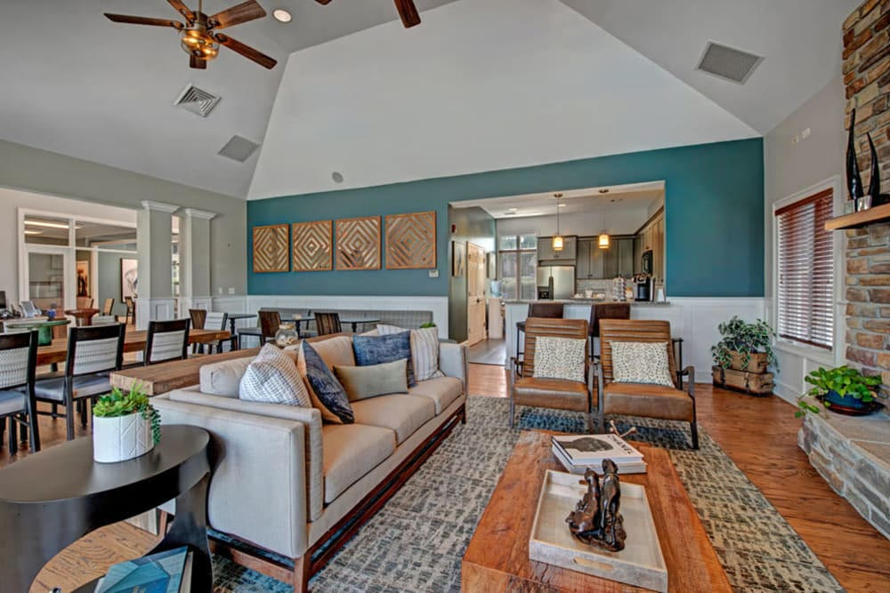 Club house interior at Howard Crossing in Ellicott City, Maryland features vaulted ceilings and comfortable furnishings