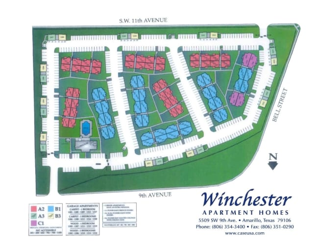 Site map for Winchester Apartments in Amarillo, Texas