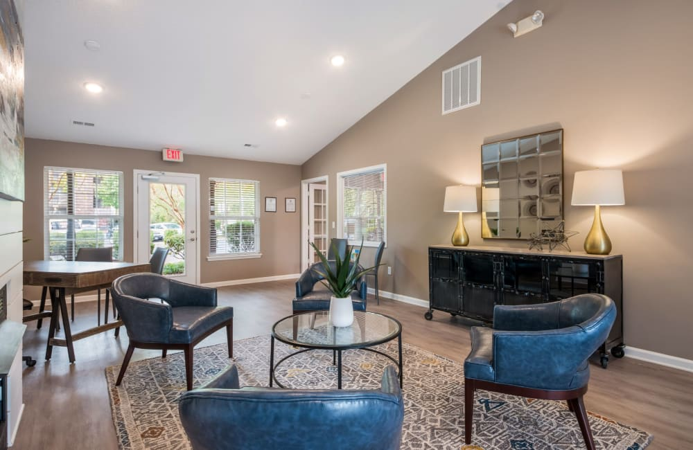 Spacious clubhouse interior at The Village at Brierfield Apartment Homes in Charlotte, North Carolina