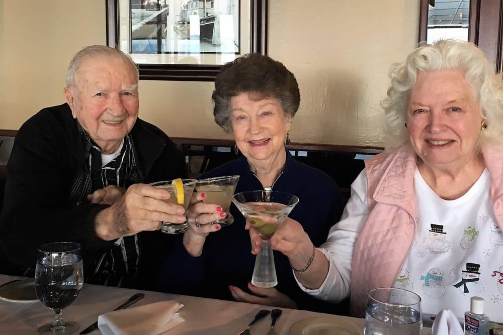 Residents enjoying a drink at Merrill Gardens at Auburn in Auburn, Washington.