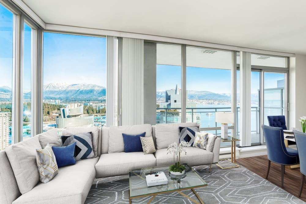 Living room with a view at Bayview at Coal Harbour in Vancouver, British Columbia