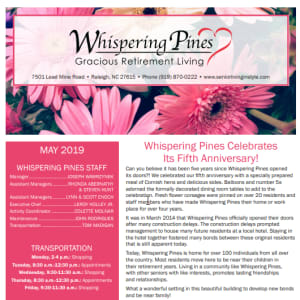 May Whispering Pines Gracious Retirement Living newsletter