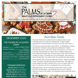 December The Palms at LaQuinta Gracious Retirement Living newsletter