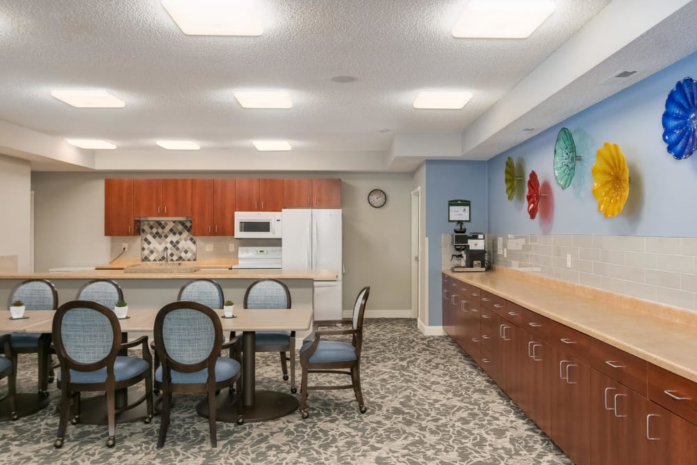 Coop community kitchen at Applewood Pointe of Roseville in Roseville, Minnesota.