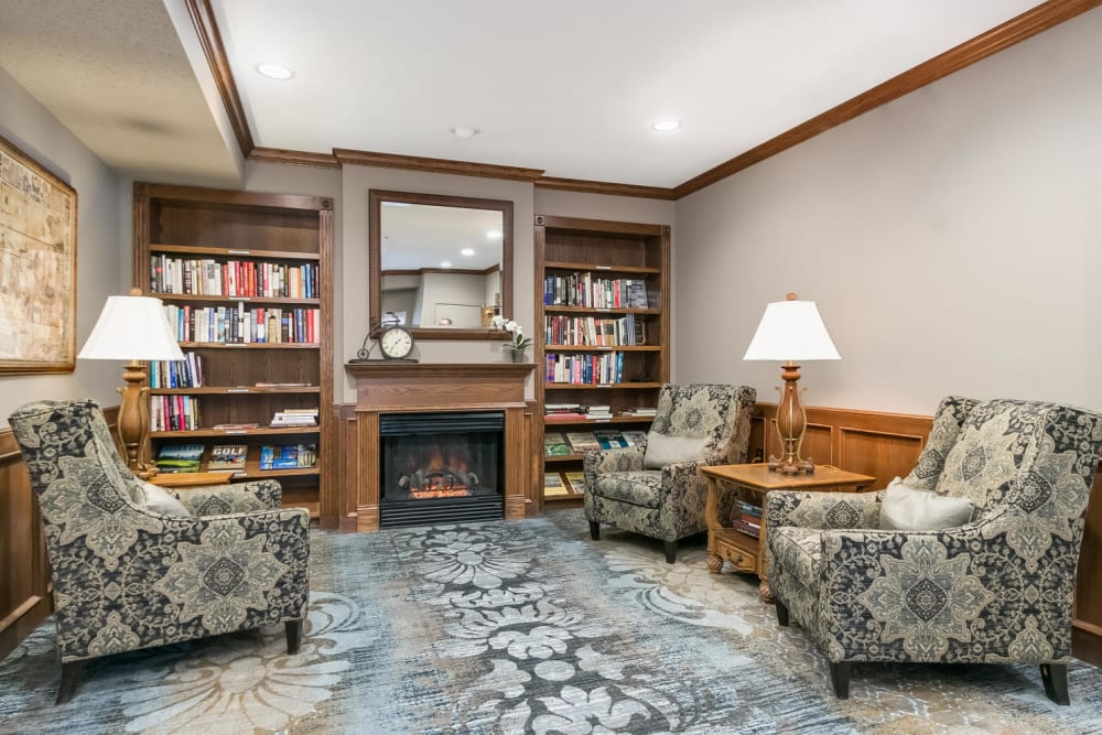 Library at Applewood Pointe of Roseville in Roseville, Minnesota.