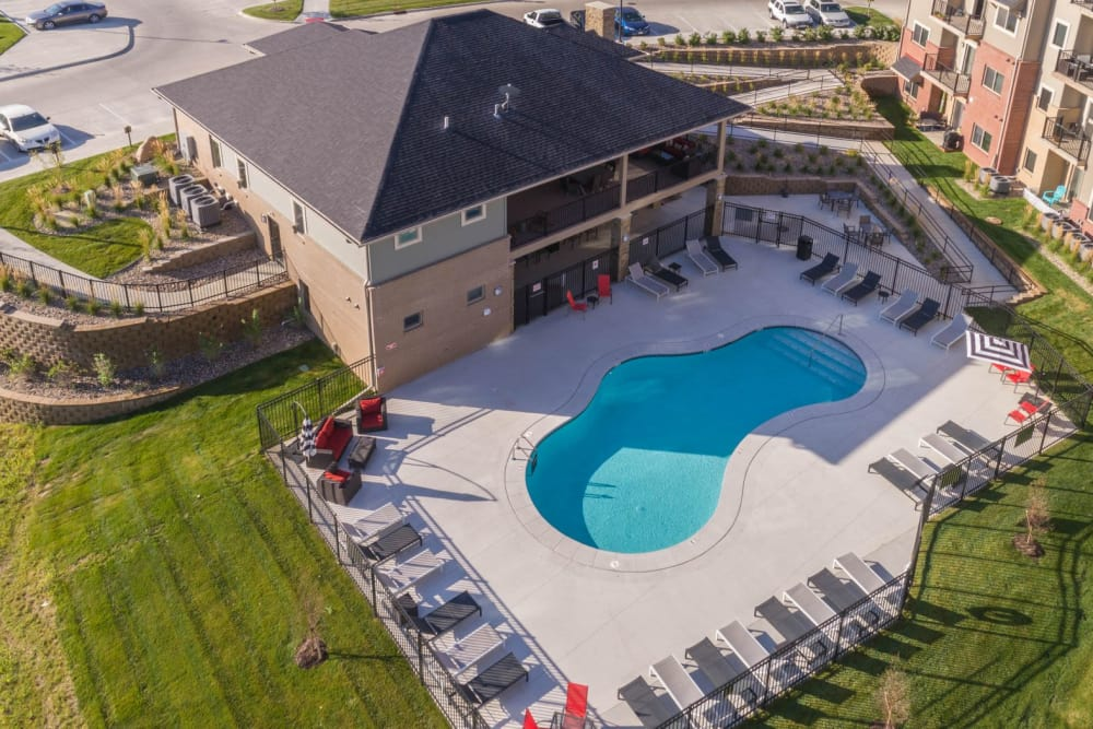 Aerial view of the pool at The Cascades at Jordan Creek in West Des Moines, Iowa