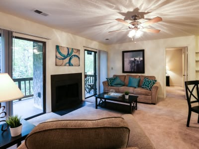 Spacious living room at Riverwind Apartment Homes in Spartanburg, South Carolina
