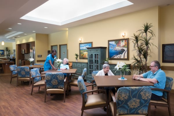 Residents in the dining room at Avenir Memory Care at Chandler in Chandler, Arizona