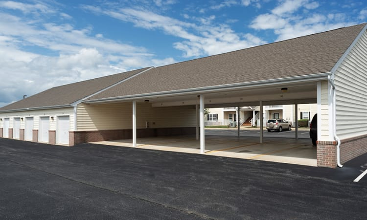 Covered parking at apartments in Dover, Delaware