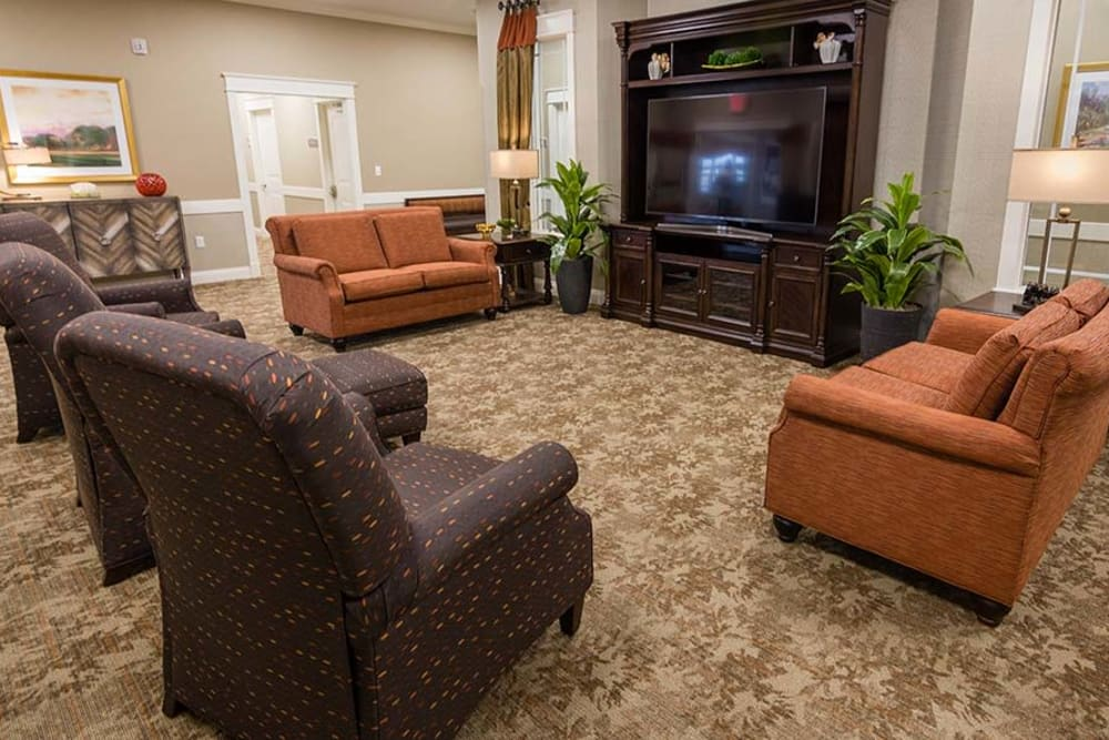 Open Living room with the best amenities at Field Pointe Assisted Living in Saint Joseph, Missouri