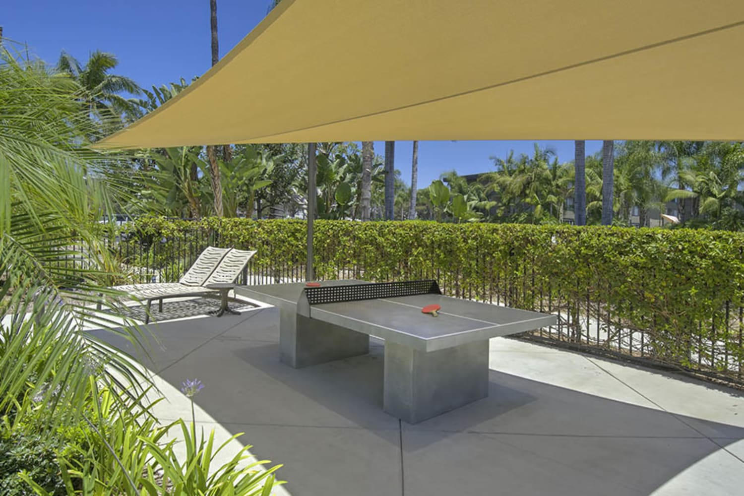 UCA Apartment Homes in Fullerton, California, offer an outdoor table tennis area