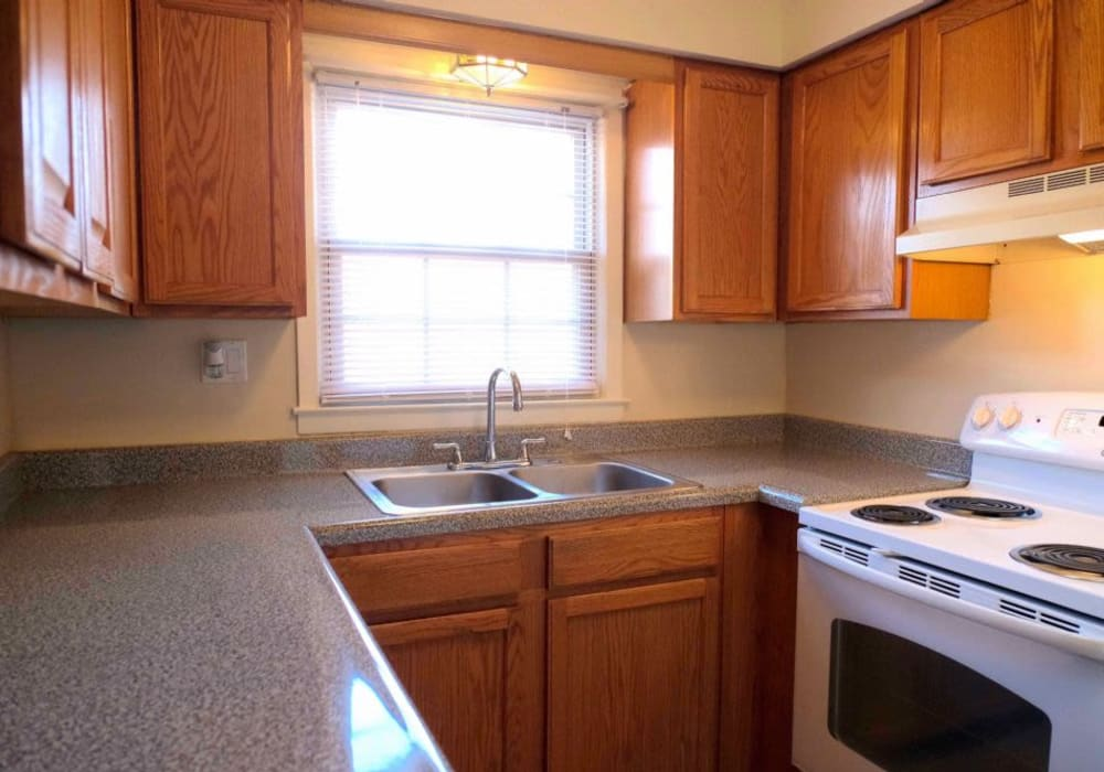 Kitchen with plenty of counter space at Hillside Terrace Apartments in Newton, New Jersey