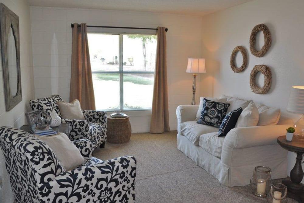 Bright living room at The Phoenix Apartments in El Paso, Texas