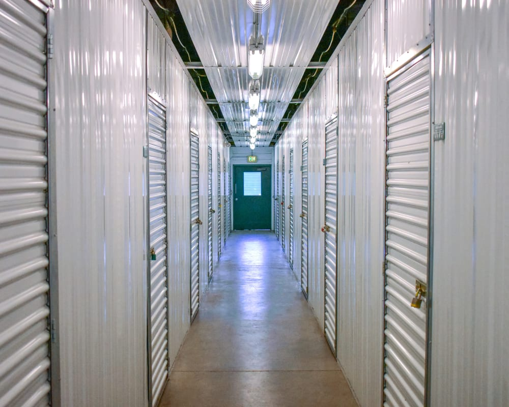 White doors on interior climate-controlled storage units at STOR-N-LOCK Self Storage in Thornton, Colorado