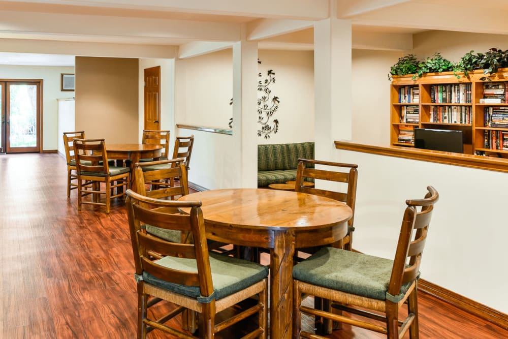 Great places to sit and get to know your neighbors in the clubhouse at Village Pointe in Northridge, California