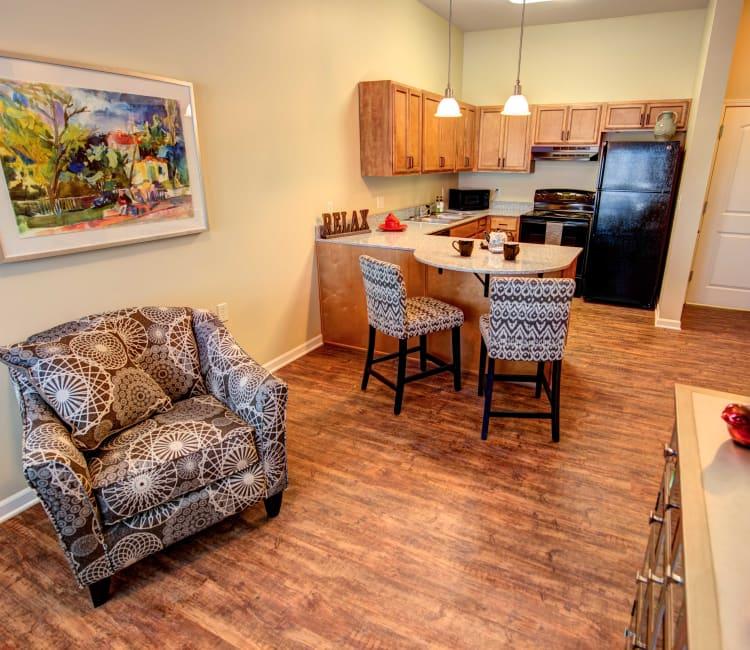 Spacious living room at The Gardens at Jackson Creek senior apartments