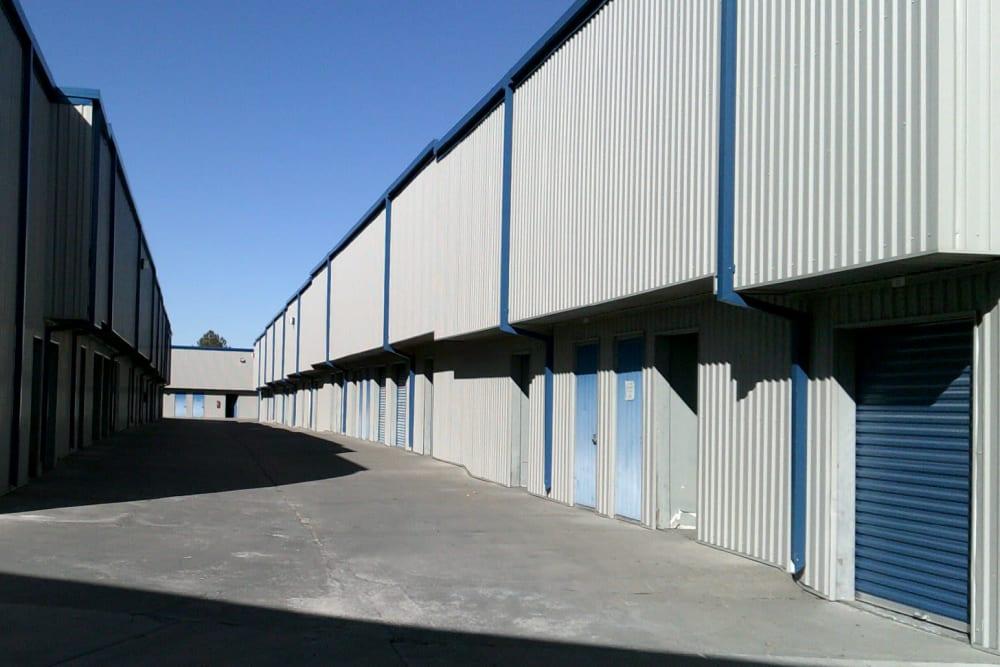 Outdoor storage units at A-American Self Storage in Reno, Nevada