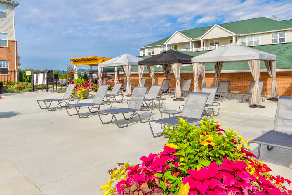 Row of lounge chairs in front of the pool at Aspen Pines Apartment Homes in Wilder, Kentucky