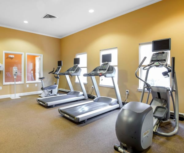 Spacious fitness center at Orchard Meadows Apartment Homes in Ellicott City, Maryland