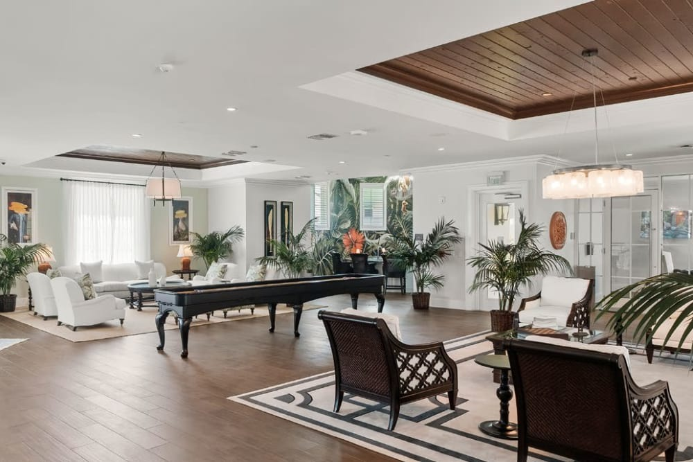 Game room in the spacious and inviting resident clubhouse at Town Lantana in Lantana, Florida