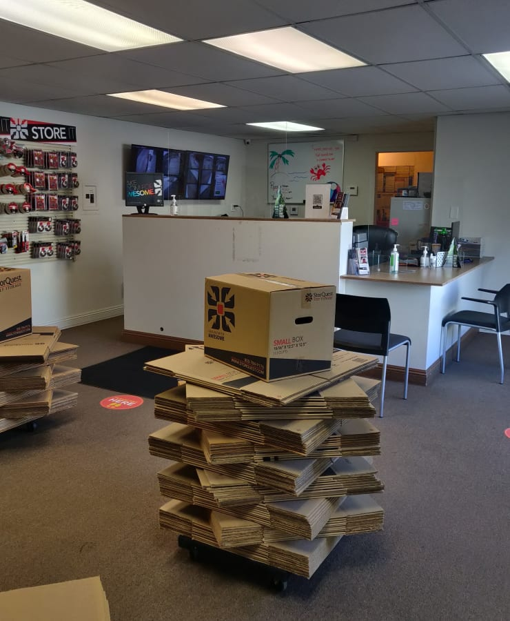 Interior of the leasing office at StorQuest Self Storage in Riverside, California