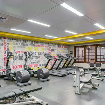 Well-equipped fitness center at Sofi at Morristown Station in Morristown, New Jersey