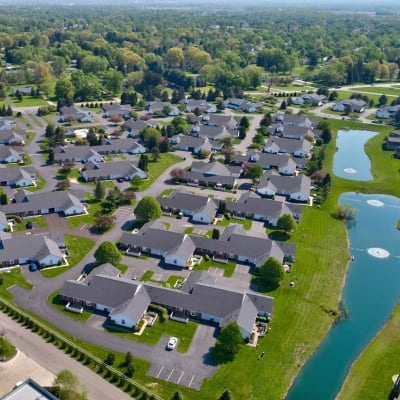Aerial view of the neighborhood at Brittany Bay Apartments and Townhomes in Groveport, Ohio