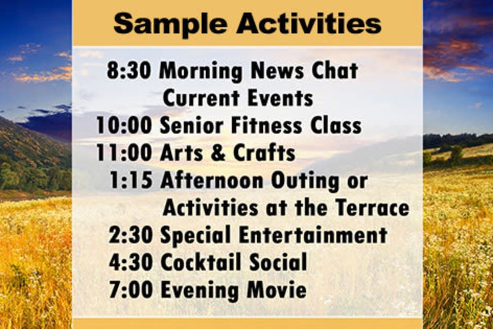 Sample activities calendar for Wheelock Terrace in Hanover, New Hampshire