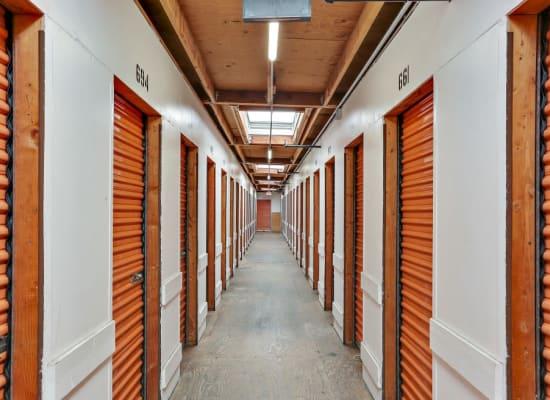 A hallway of indoor storage units at A-1 Self Storage in San Diego, California