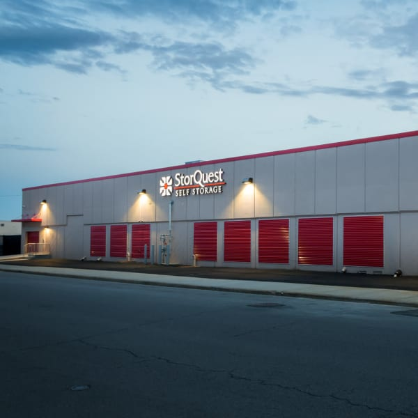 Exterior storage units with red doors at StorQuest Self Storage in Long Beach, New York