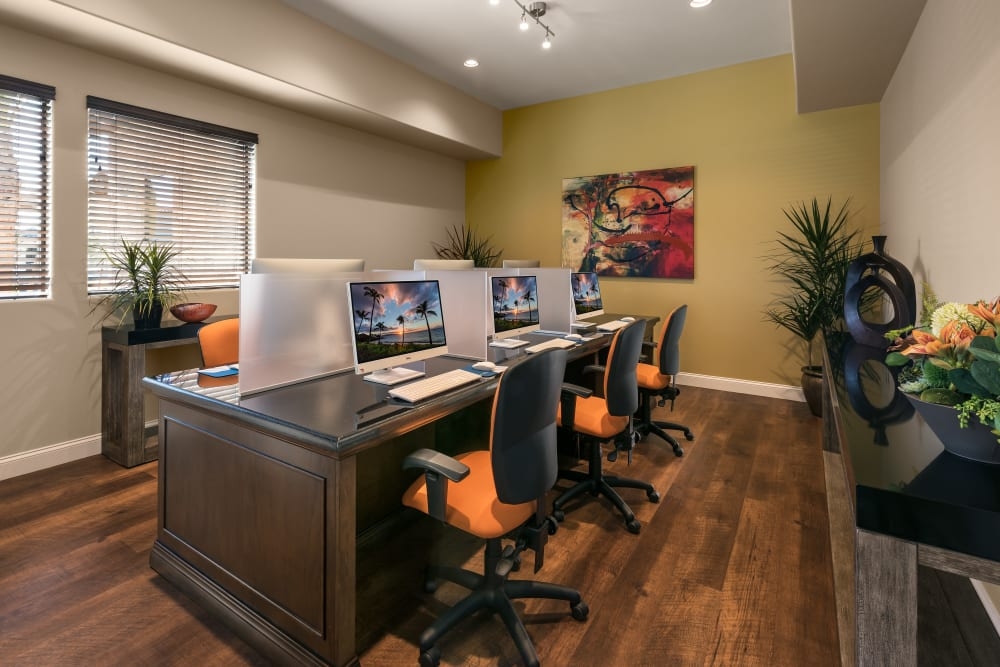 Business center with computers for resident use at San Villante in Mesa, Arizona