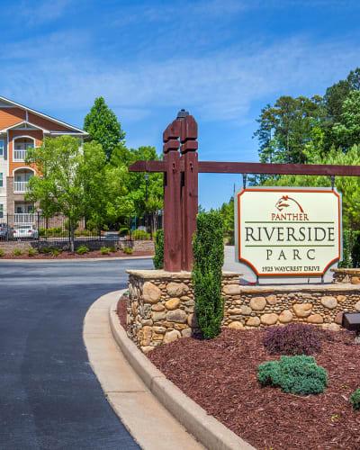Front sign at Panther Riverside Parc Apartments in Atlanta, Georgia
