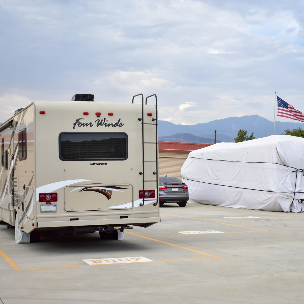 Outdoor RV, boat and automobile storage at STOR-N-LOCK Self Storage in Redlands, California