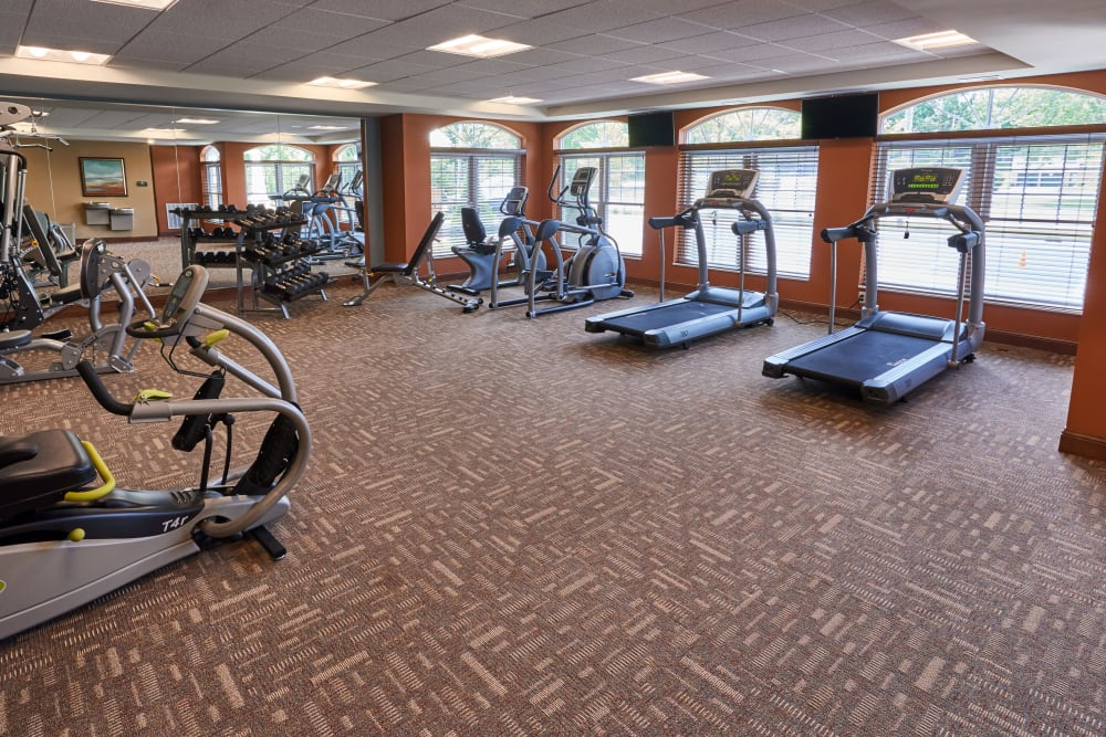 A fitness center at Applewood Pointe of Champlin in Champlin, Minnesota.