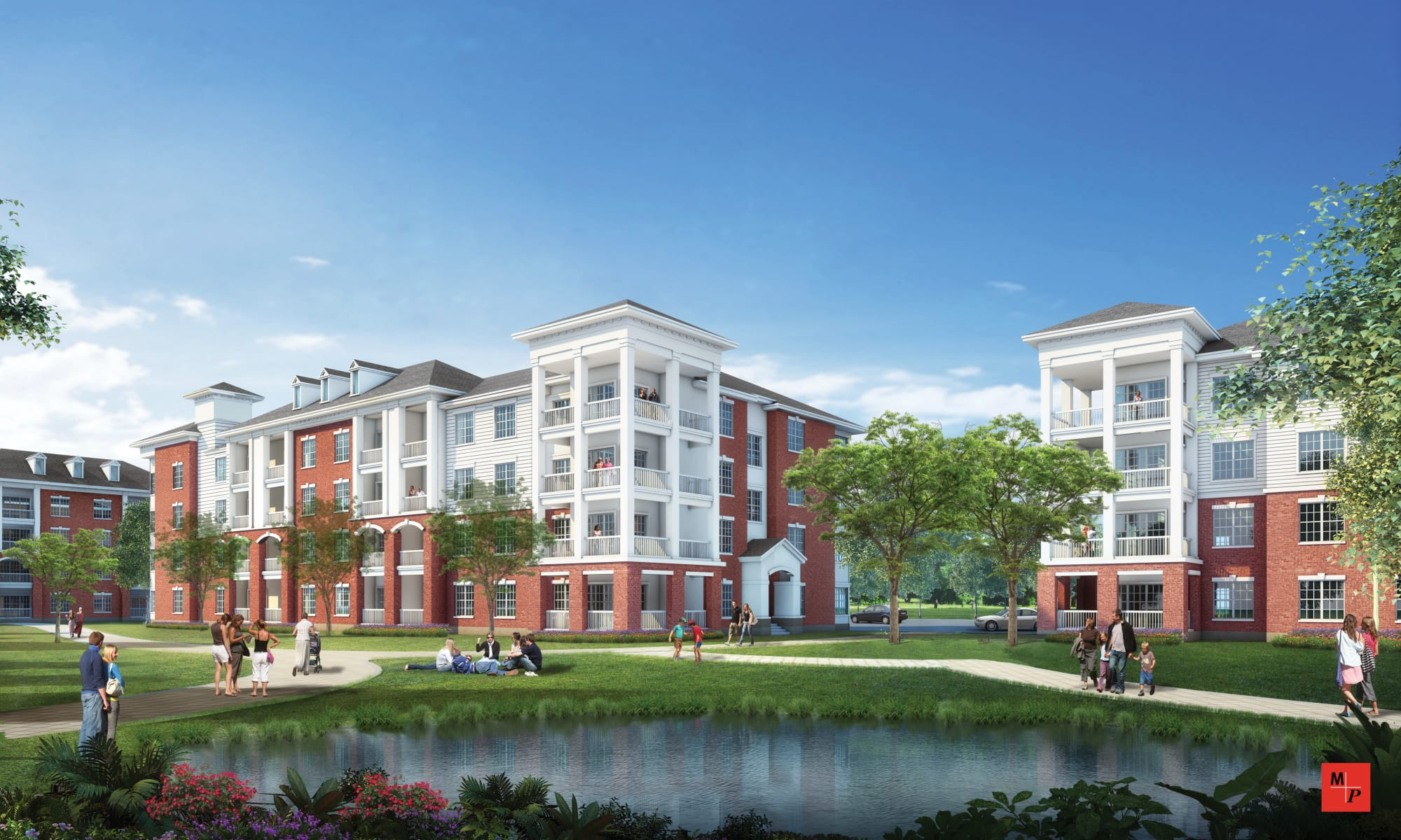 Exterior rendering of Silver Collection at Carl D. Silver Parkway in Fredericksburg, Virginia
