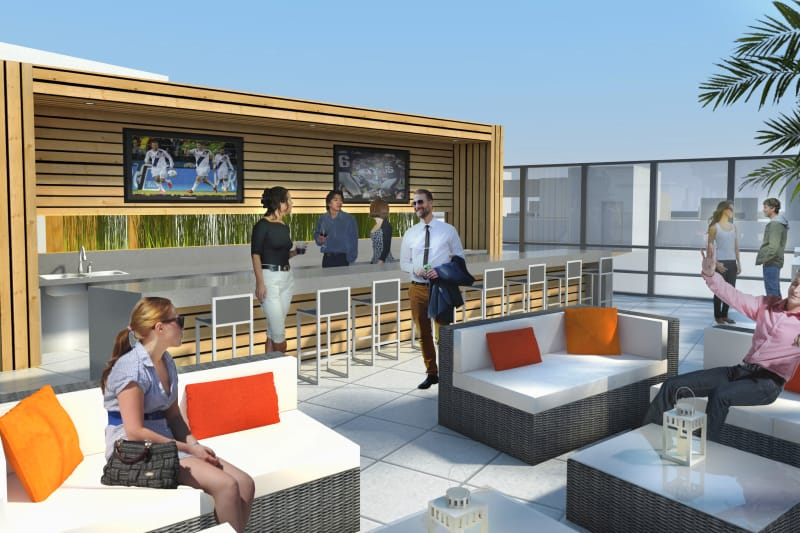 Rooftop seating at 1400 Fig in Los Angeles, California