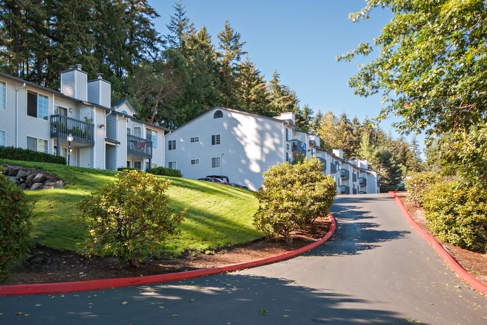 The driveway up to the garages and apartments at Wellington Apartment Homes in Silverdale, Washington