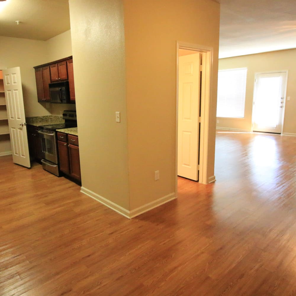 Garnet counter tops and hard wood floors in townhome's at Oaks Estates of Coppell in Coppell, Texas