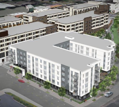 Aerial rendering of Grant Park Village in Portland, OR