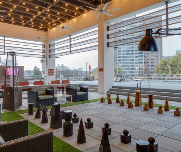 Giant chess set at Altitude in Atlanta, GA