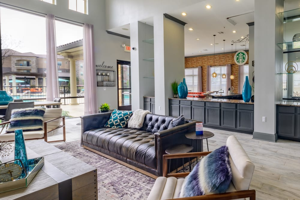 Luxurious clubhouse near the swimming pool area at Evolv in Mansfield, Texas