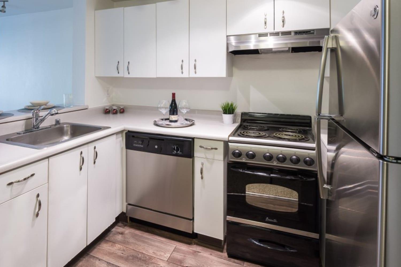 Modern kitchen at Metropolitan Park Apartments in Seattle, Washington