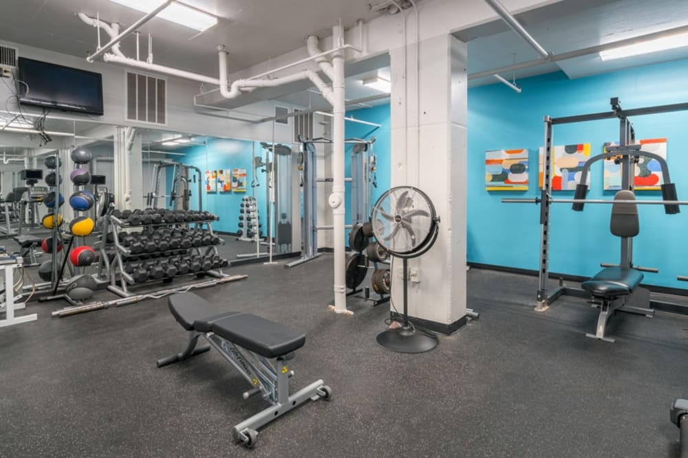 Modern fitness center at The Enclave at 1550 Apartments in San Antonio, Texas